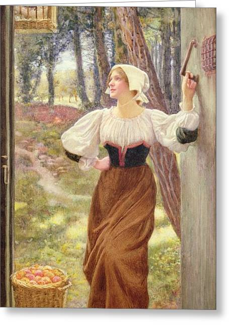 Tithe In Kind Greeting Card by Edward Robert Hughes