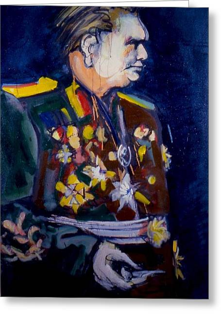 Greeting Card featuring the painting Tito by Les Leffingwell