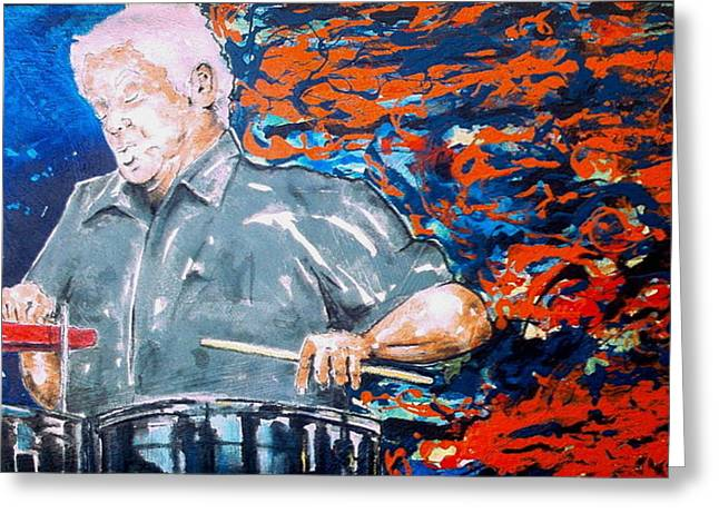 Tito Puente Greeting Card by Omar Javier Correa