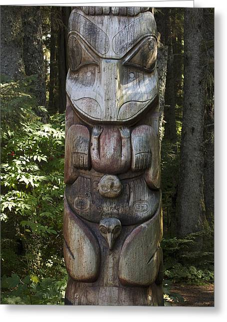 Tlingit Totem Pole, Sitka National Greeting Card by Matthias Breiter