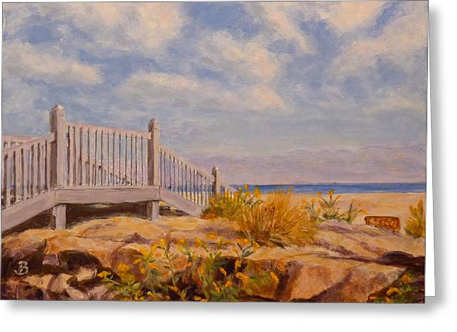 Greeting Card featuring the painting To The Beach by Joe Bergholm