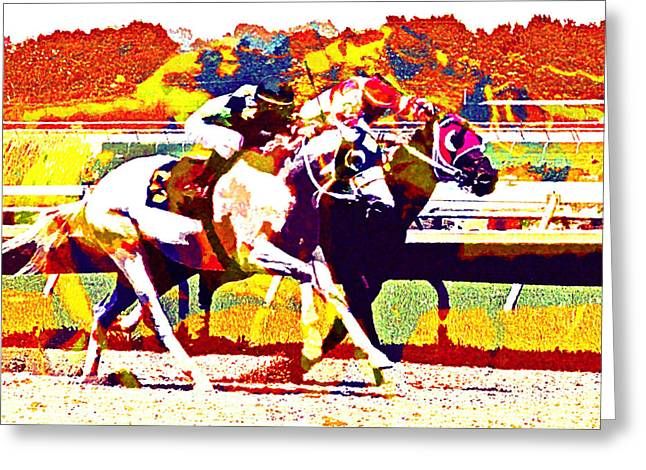 Greeting Card featuring the photograph To The Finish by Alice Gipson