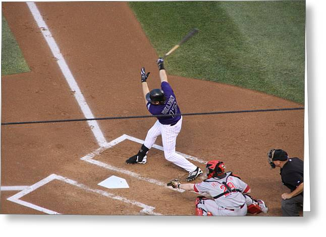 Todd Helton Takes A Swing Greeting Card by Cynthia  Cox Cottam