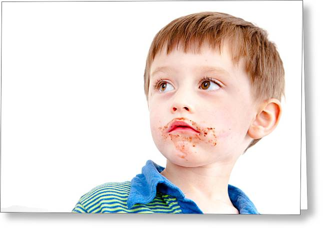 Toddler Eating Chocolate Greeting Card by Tom Gowanlock