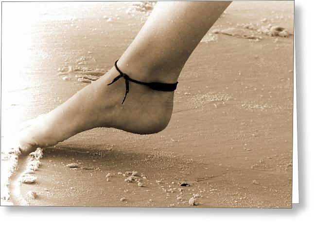 Toes In The Sand Greeting Card by Nada Frazier