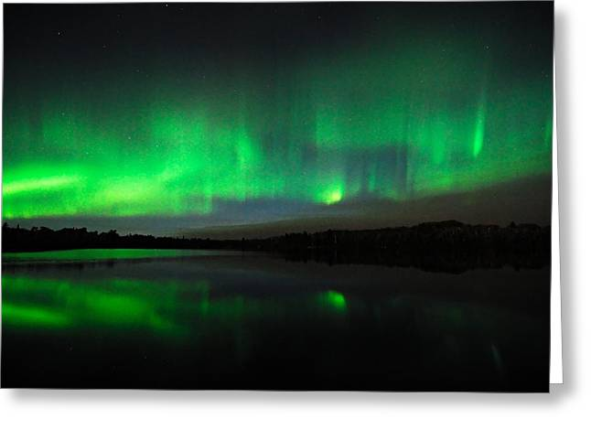 Tofte Lake Aurora Greeting Card