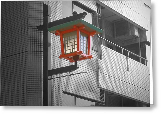 Tokyo Street Light Greeting Card by Naxart Studio