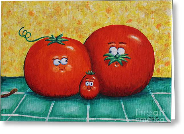 Tomato Family Portrait Greeting Card by Jennifer Alvarez
