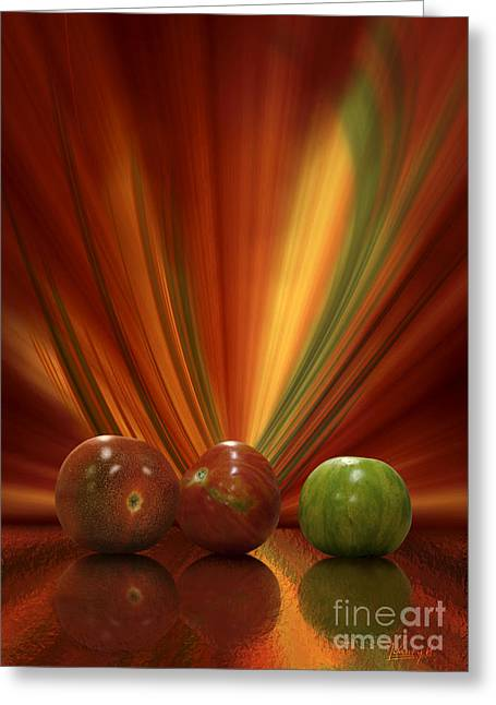 Greeting Card featuring the digital art Tomatoes by Johnny Hildingsson