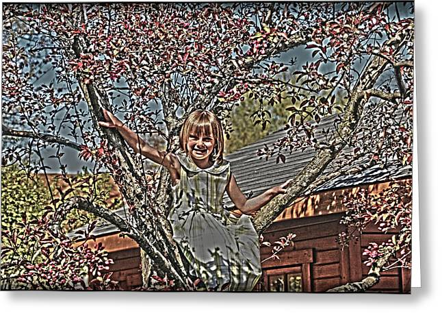 Tomboy In The Tree Greeting Card by Randall Branham