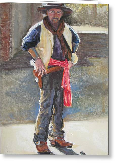 Tombstone Cowboy Greeting Card by Carole Haslock
