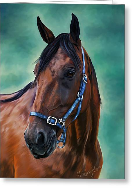 Tommy - Horse Painting Greeting Card by Michelle Wrighton