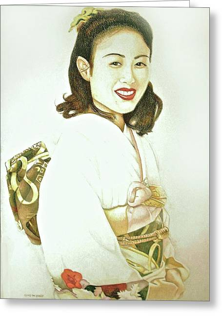 Greeting Card featuring the drawing tomomi in Kimono by Tim Ernst