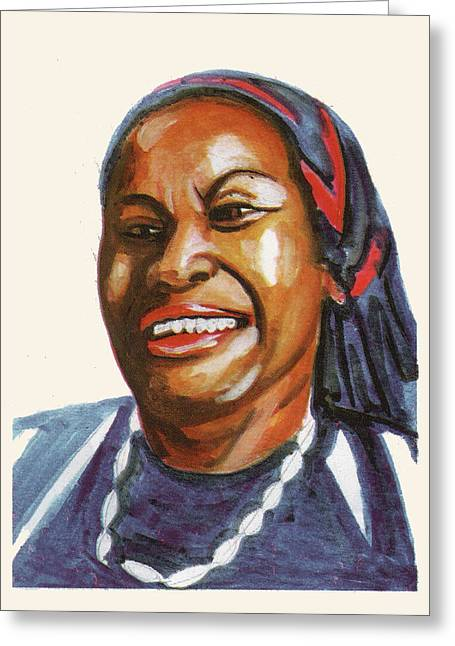 Toni Morrison Greeting Card by Emmanuel Baliyanga