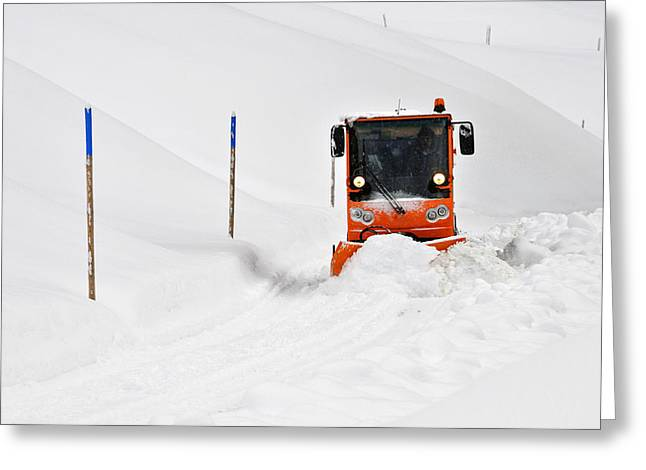 Tons Of Snow - Winter Road Clearance Greeting Card by Matthias Hauser