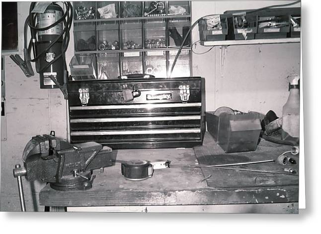 Tool Box And Clamp Work Area Greeting Card by Floyd Smith