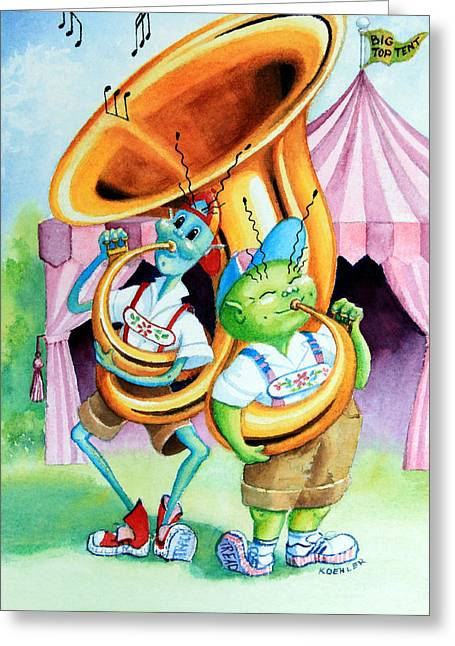 Tooting A Tuba For Two Greeting Card
