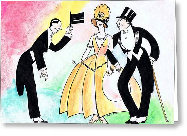Top Hat Trio Greeting Card by Mel Thompson