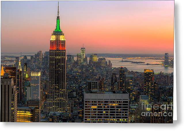 Top Of The Rock Twilight X Greeting Card by Clarence Holmes