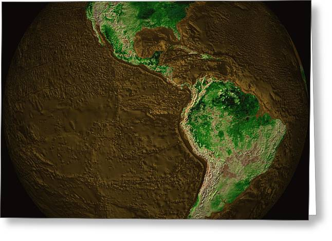 Topographic Map Of Earth Greeting Card by Stocktrek Images