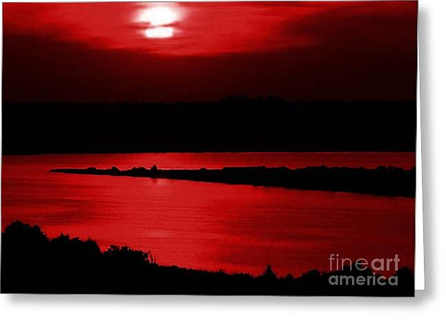 Topsail Island Blood-red Sunset Greeting Card by Julie Dant