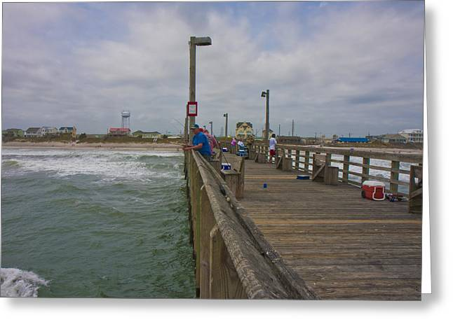 Topsail Island Sc Pier Greeting Card by Betsy Knapp