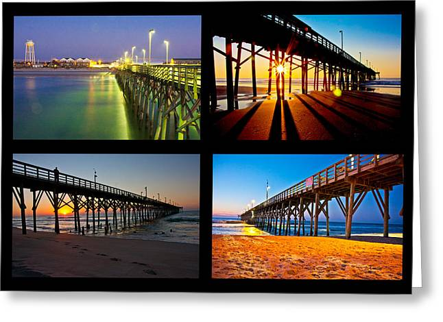 Topsail Piers At Sunrise Greeting Card by Betsy Knapp