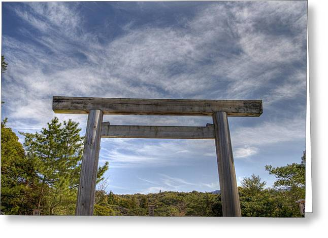 Greeting Card featuring the photograph Torii by Tad Kanazaki