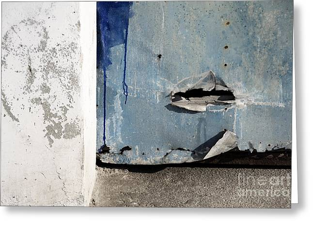 Greeting Card featuring the photograph Torn Metal Shutter by Agnieszka Kubica