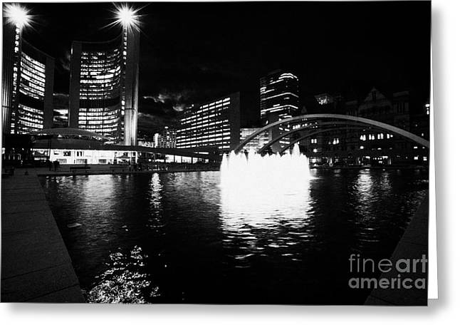 Toronto City Hall Building And Reflecting Pool In Nathan Phillips Square At Night Greeting Card by Joe Fox