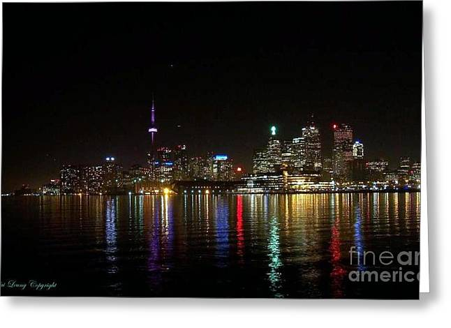 Toronto Skyline At Night Greeting Card by Lingfai Leung