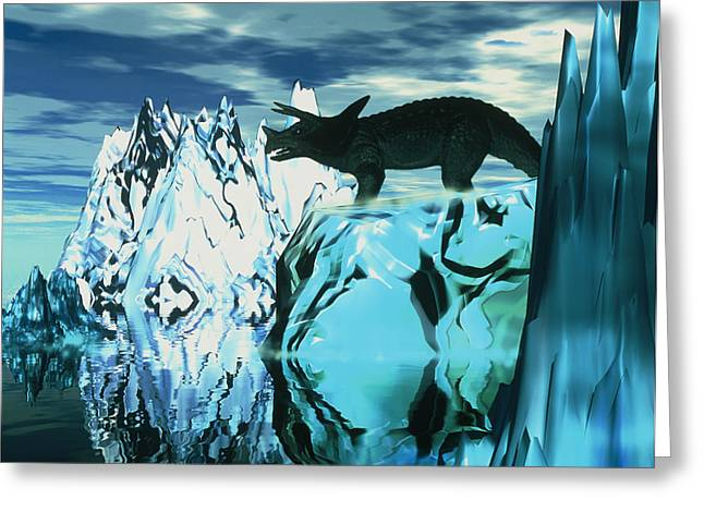 Torosaurus Dinosaur In An Icy Landscape Greeting Card by Victor Habbick Visions