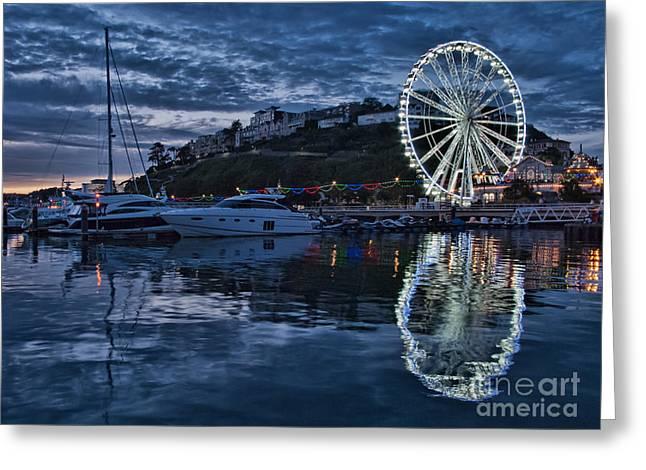 Torquay Marina And The Big Wheel Greeting Card by Ann Garrett