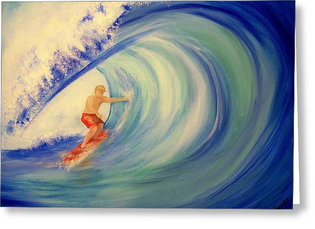 Touching The Wave Greeting Card by Lynda McDonald
