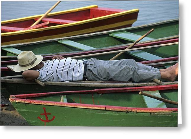 Tour Boat Guide Naps Amidst Rowboats Greeting Card by Raymond Gehman