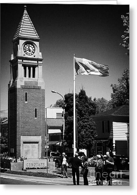 Tourists At The Cenotaph Clock Tower Niagara-on-the-lake Ontario Canada Greeting Card by Joe Fox