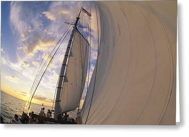 Tourists Enjoy Sailing On A Schooner Greeting Card by Michael Melford