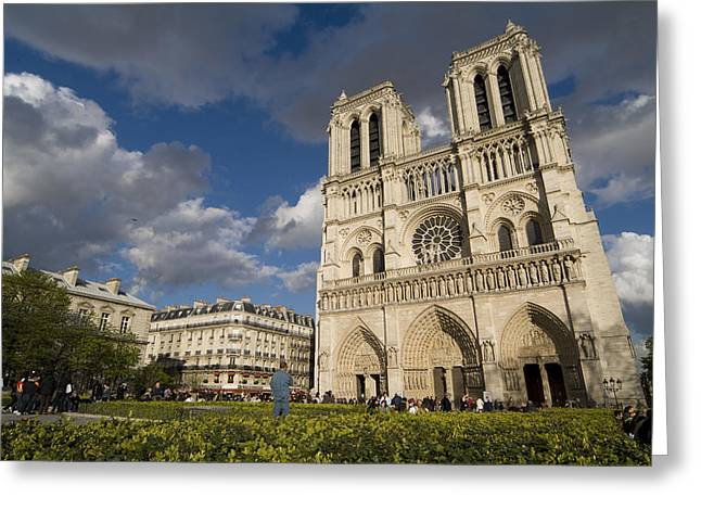 Tourists Gathered Outside The Notre Greeting Card by Richard Nowitz