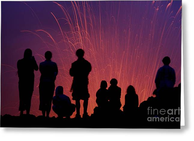 Tourists Observing The Strombolian Greeting Card