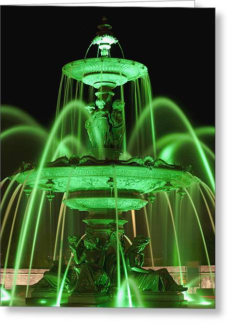 Tourny Fountain Illumination By Green Greeting Card by David Chapman