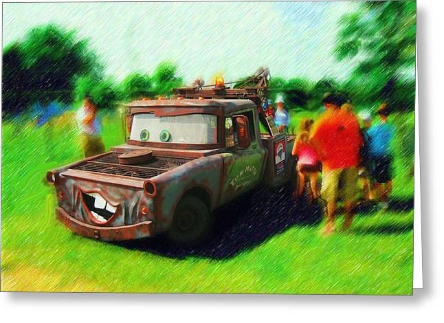 Greeting Card featuring the photograph Tow Mater Live by Mario Carini
