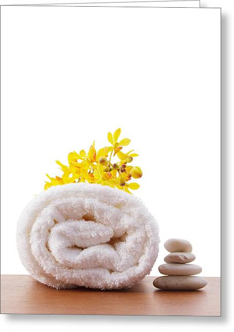 Towel Roll Greeting Card by Atiketta Sangasaeng