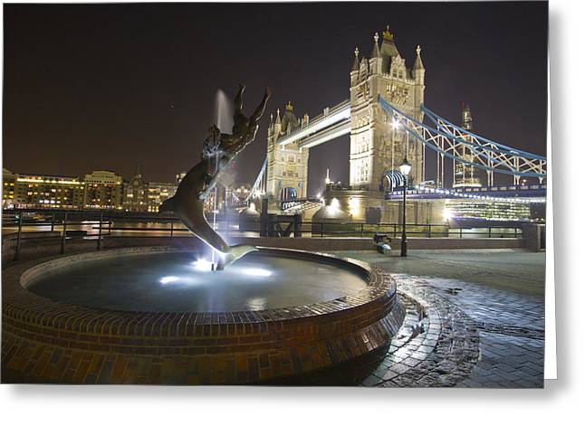 Tower Bridge Girl With A Dolphin Greeting Card by David French