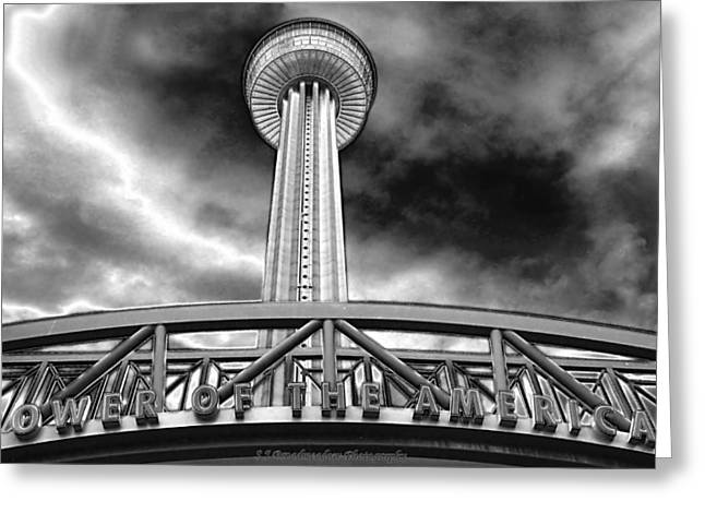 Tower Of The Americas San Antonio In Chrome Greeting Card