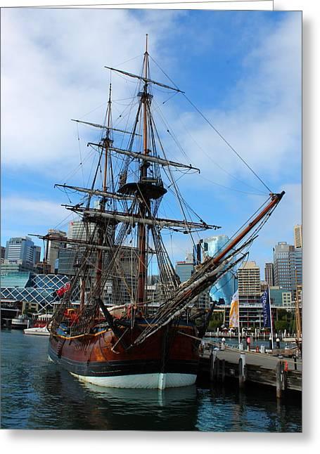 Towering Ship Greeting Card by Harlan Fijal-Campbell