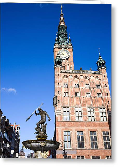 Town Hall And Neptune Fountain In Gdansk Greeting Card by Artur Bogacki