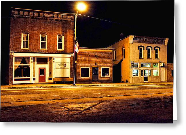 Town Street At Night Greeting Card