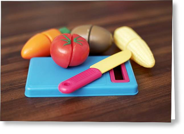 Toy Vegetable Chopping Board Greeting Card by Ian Boddy