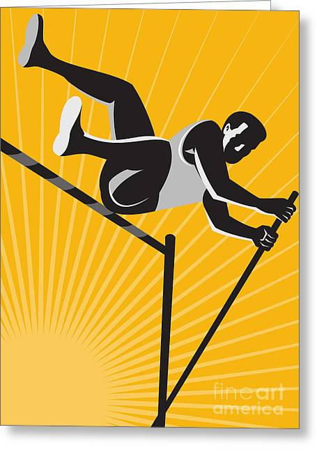 Track And Field Athlete Pole Vault High Jump Retro Greeting Card by Aloysius Patrimonio