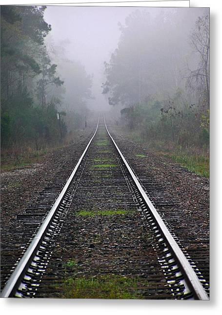 Tracks In Fog Greeting Card